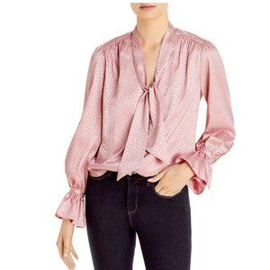 NWT Lini Anya Neck Tie Blouse Rose Size Large